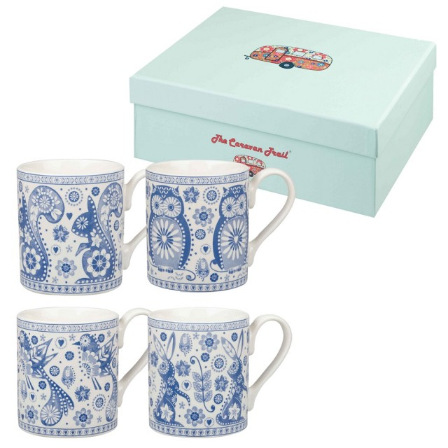 "Set 4 cani din portelan Caravan Trail ""Penzance"" 250ml in cutie cadou, Churchill"