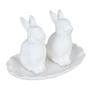 "Set solnita si pipernita ""White Bunnies"", Clayre & Eef"