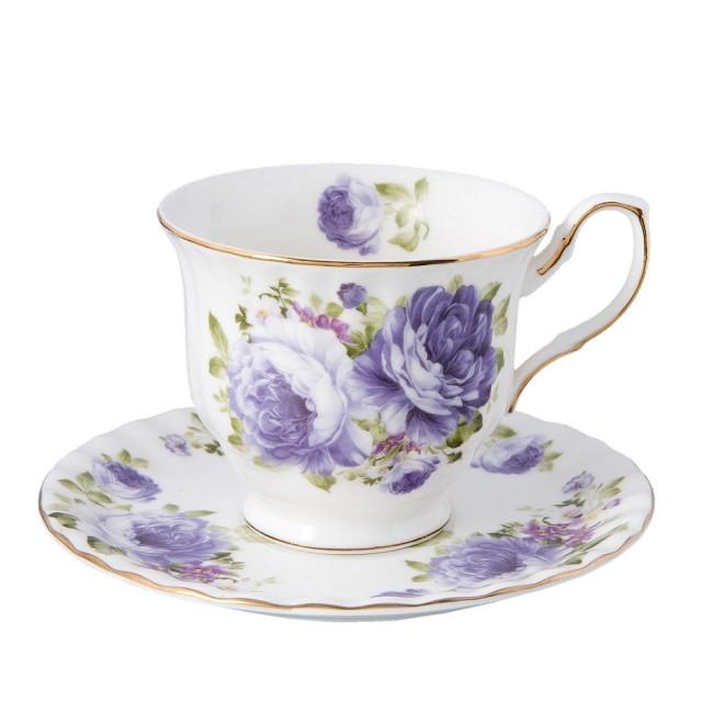 """Ceasca cu farfurie """"Purple Flower"""", Clayre & Eef"""