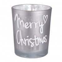 Suport lumanare Silver Merry Christmas, Clayre & Eef