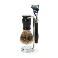 Edwin Jagger Set barbierit 3 piese 3PCIECFBB, Luxury Chatsworth Black Fusion Pro Glide