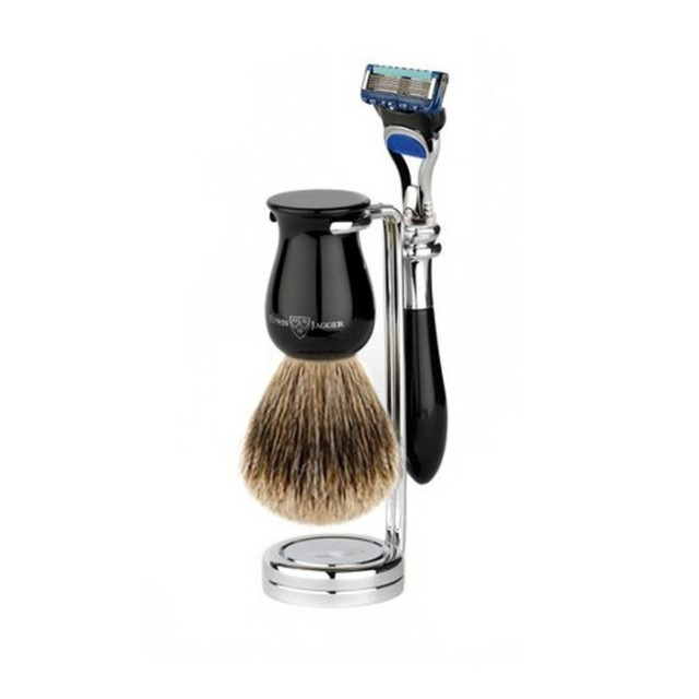 Edwin Jagger Set barbierit 3 piese 3PCIEPFBB, Plaza Black Fusion ProGlide