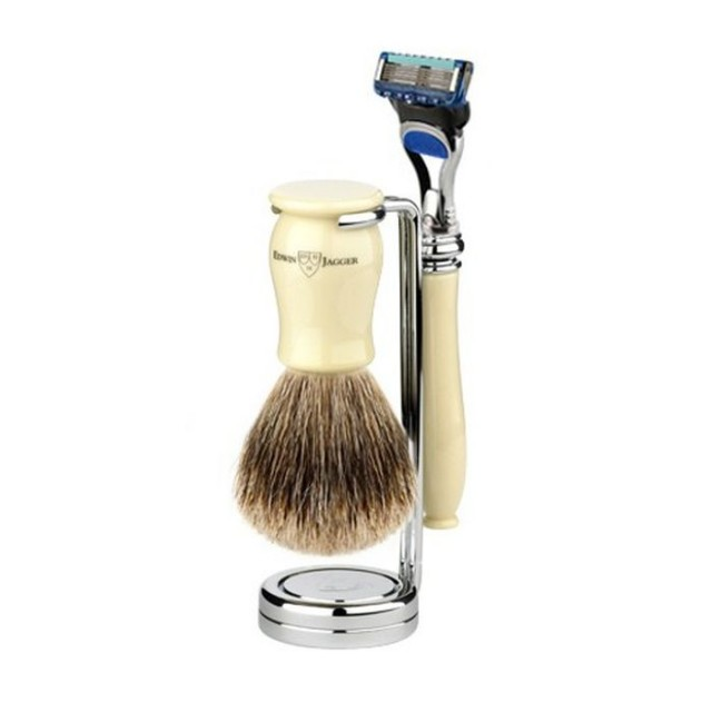 Edwin Jagger Set barbierit 3 piese 3PCIVRFBB, Chatsworth Ivory - Fusion ProGlide