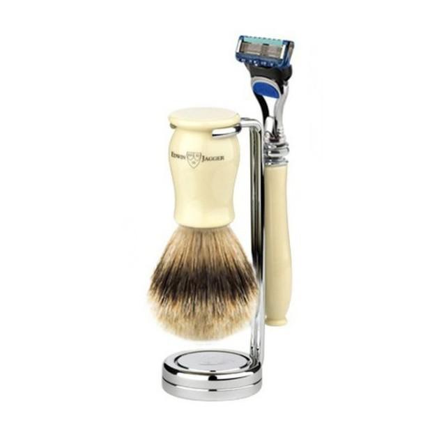 Edwin Jagger Set barbierit 3 piese 3PCIVCFSB, Chatsworth Ivory Fusion Pro Glide