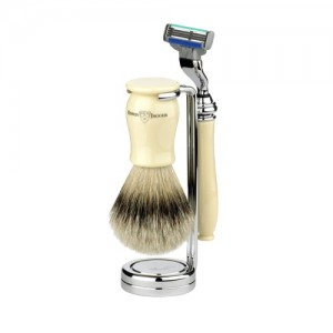 Set barbierit 3 piese Chatsworth Ivory Mach3 3PCIVCM3SB, Edwin Jagger