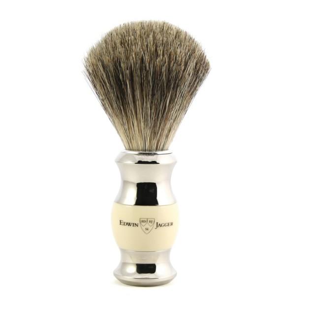 Edwin Jagger Pamatuf pentru barbierit Ivory & Silver din par de bursuc Pure Badger