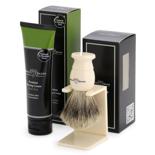 Set pentru barbierit - pamatuf Best Badger cu suport si crema de barbierit Aloe Vera, Edwin Jagger