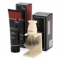 Set cadou pentru barbierit Edwin Jagger: pamatuf din par de bursuc cu suport si crema de barbierit Sandalwood, Edwin Jagger