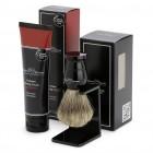 Set cadou pentru barbierit Edwin Jagger: pamatuf din par natural de bursuc suport negru si crema de ras Sandalwood, Edwin Jagger