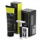 Set aparat de barbierit clasic cu lama dubla si crema de barbierit Limes & Pomegranate, Edwin Jagger
