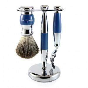 Set de barbierit VLADIMIR BLUE, 3 piese: aparat cu lama Gillette Mach3, pamatuf si suport cromat, Edwin Jagger