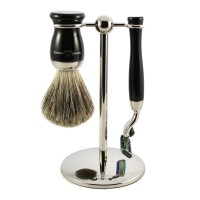 Edwin Jagger Set barbierit 3 piese S81M716CR, Ebony Fit Mach 3