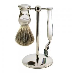 Set de barbierit Arthur, 3 piese: aparat cu lama Gillette Mach 3, pamatuf din par de bursuc si suport metalic, Edwin Jagger