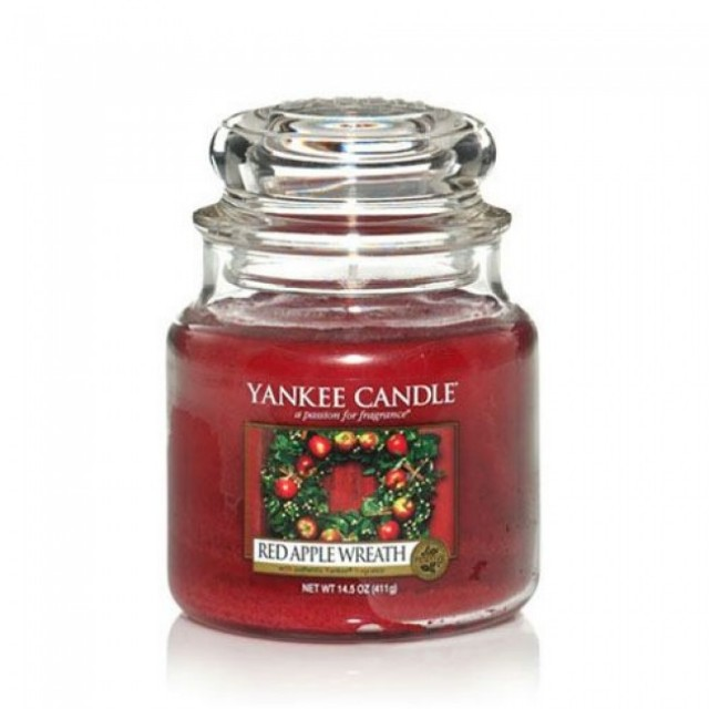 Lumanare Parfumata Borcan Mediu Red Apple Wreath, Yankee Candle