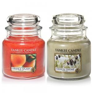 Set 2 Lumanari Parfumate Borcan Mediu, Orange Splash & Olive&Thyme, Yankee Candle