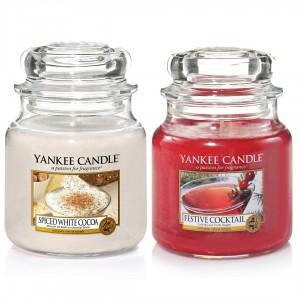 Set 2 Lumanari Parfumate Borcan Mediu, Spiced White Cocoa & Festive Cocktail, Yankee Candle