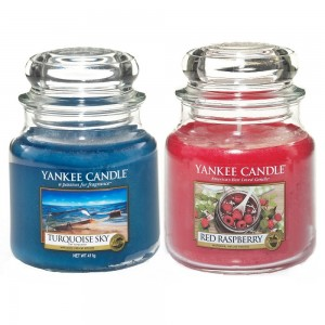 Set 2 Lumanari Parfumate Borcan Mediu, Red Raspberry & Turquoise Sky, Yankee Candle