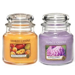 Set 2 Lumanari Parfumate Borcan Mediu, Mango Peach Salsa & Lovely Kiku, Yankee Candle
