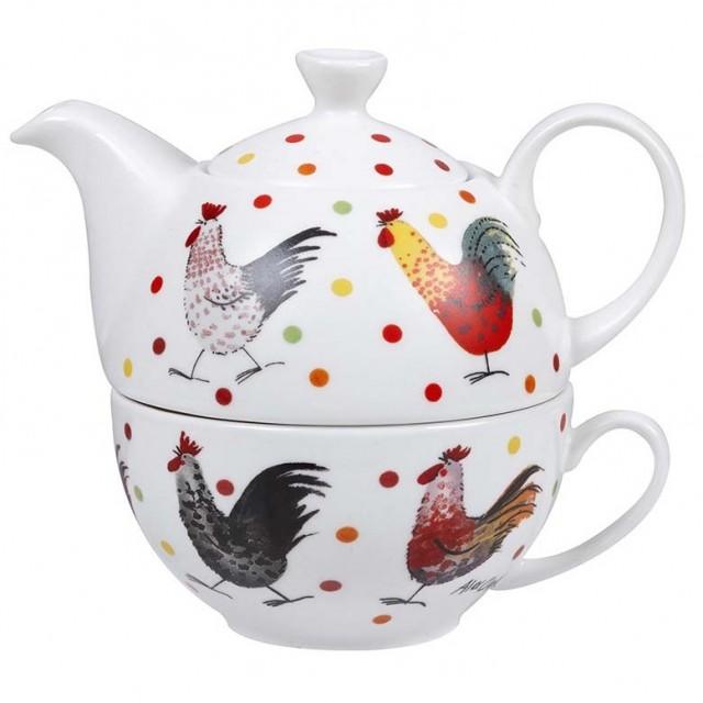 Set ceainic si ceasca din portelan fin, pentru o persoana, Tea for One Alex Clark Rooster, Churchill