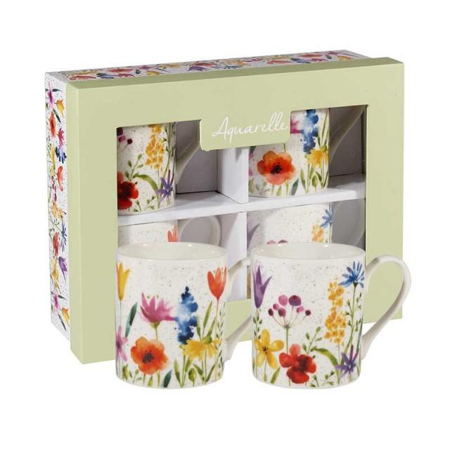 """Set 4 cani din portelan """"Meadow Flowers"""" 250ml in cutie cadou, Churchill"""