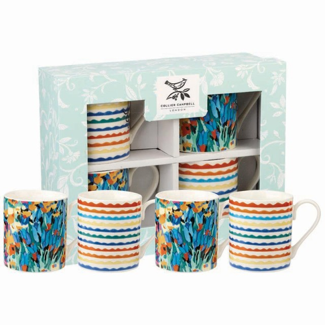 """Set 4 cani din portelan Collier Campbell """"Floral Fantasy"""" 250ml in cutie cadou, Churchill"""