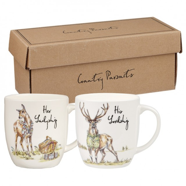 Set 2 cani din portelan Country Pursuits 300 ml in cutie cadou, Churchill