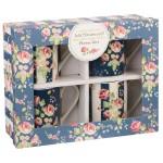 "Set 4 cani din portelan Julie Dodsworth ""Flower Girl"" 250ml in cutie cadou, Churchill"