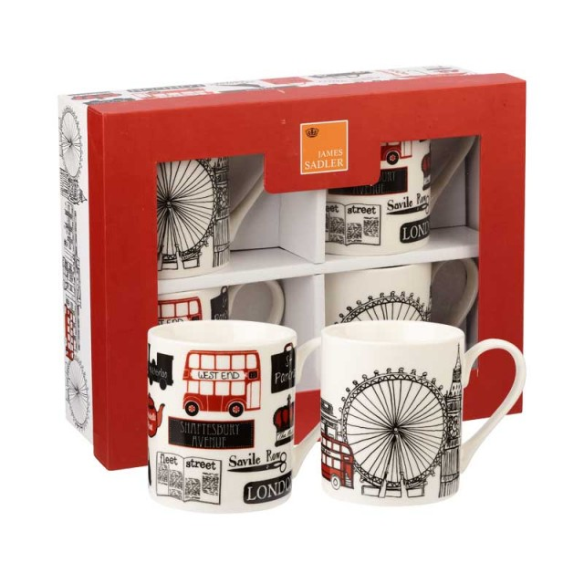 "Set 4 cani din portelan James Sadler ""London Collection"" 250ml in cutie cadou, Churchill"