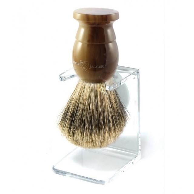 Edwin Jagger Pamatuf pentru barbierit Light Horn din par de bursuc Best Badger, cu suport