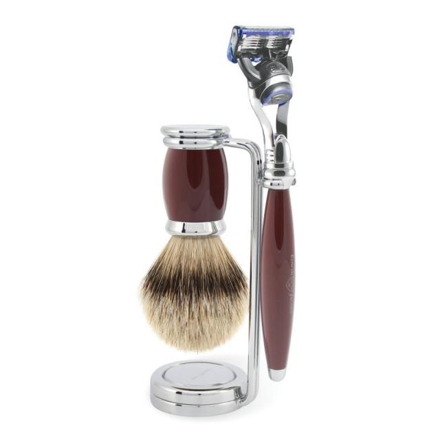 Edwin Jagger Set barbierit 3 piese 3PCB1FBB, Bulbous Red Fusion Pro Glide