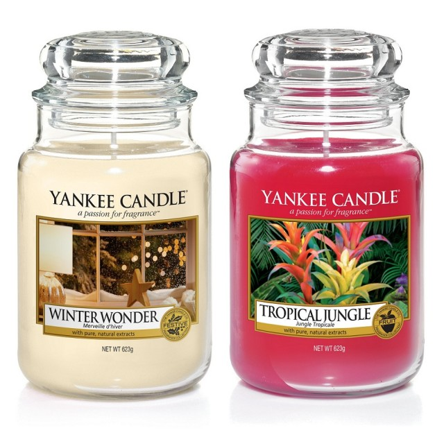 Set 2 lumanari Parfumate Borcan Mare Winter Wonder & Tropical Jungle, Yankee Candle