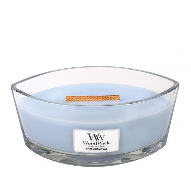 Lumanare Parfumata Ellipse Soft Chambray, WoodWick®