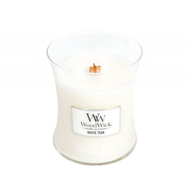 Lumanare Parfumata Borcan Mediu White Teak, WoodWick®
