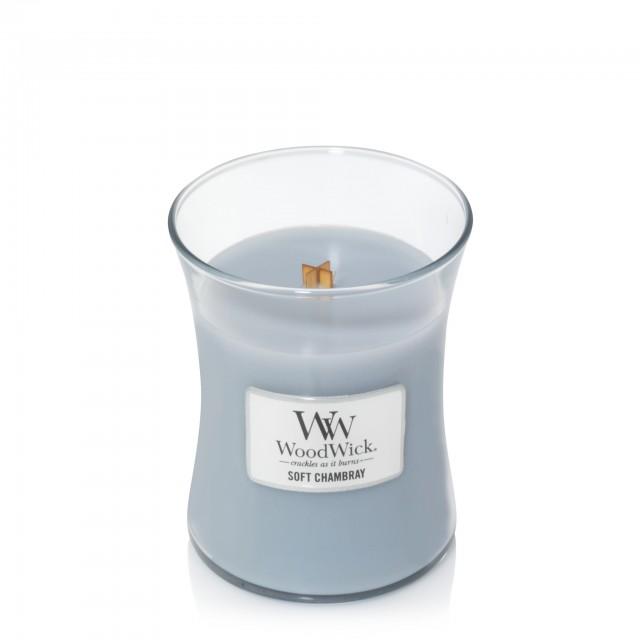 Lumanare Parfumata Borcan Mediu Soft Chambray, WoodWick®