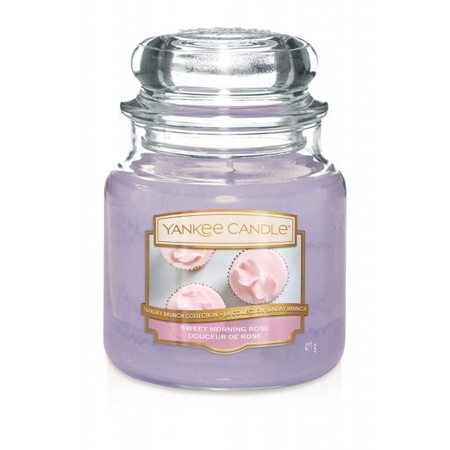 Lumanare Parfumata Borcan Mediu Sweet Morning Rose, Yankee Candle