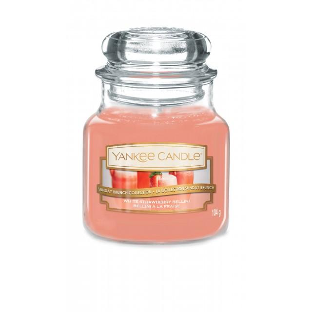 Lumanare Parfumata Borcan Mic White Strawberry Bellini, Yankee Candle
