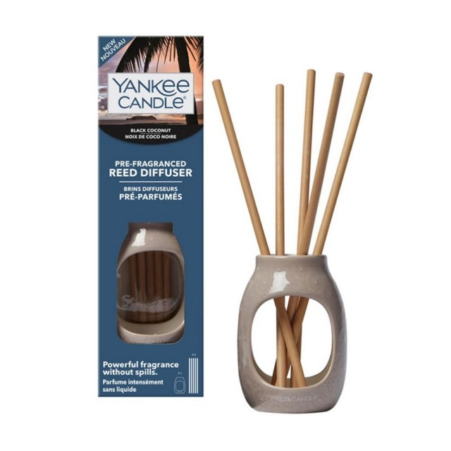 Set 5 betisoare parfumate fara lichid cu suport ceramic Embossed, Black Coconut, Yankee Candle