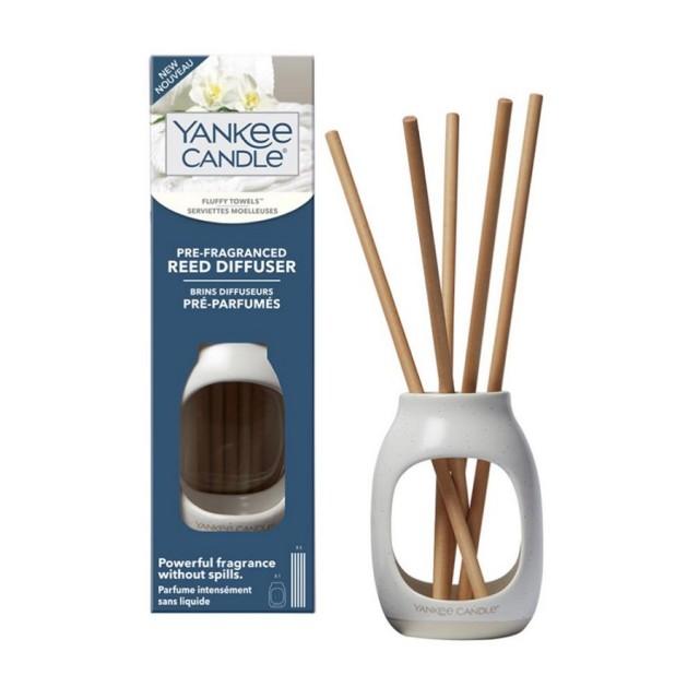 Set 5 betisoare parfumate fara lichid cu suport ceramic Earthenware, Fluffy Towels, Yankee Candle