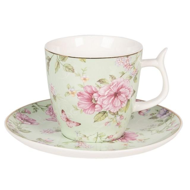 "Ceasca cu farfurie ""Spring Blossom"", Clayre & Eef"