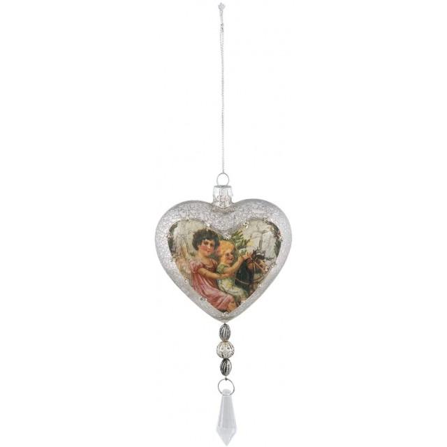 "Decoratiune de agatat ""Silver Heart"" 9*5*18 cm, Clayre&Eef"