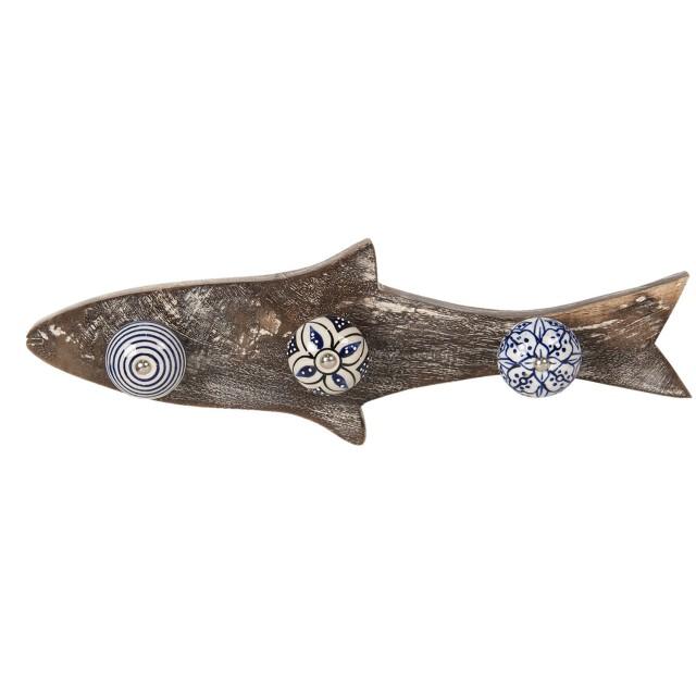 "Cuier cu decor marin ""Blue Fish"", Clayre&Eef"