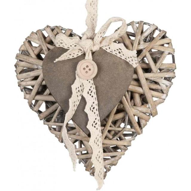 """Decoratiune """"Rattan Heart"""" 15*14 cm, Clayre&Eef"""