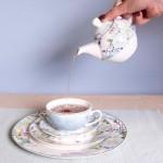 Set ceainic si ceasca cu farfurie din portelan, pentru o persoana, Tea for One-Pastel Butterfly, Clayre&Eef