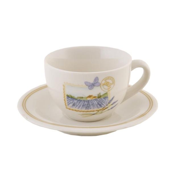 "Ceasca cu farfurie pentru espresso ""French Lavender"", Clayre & Eef"