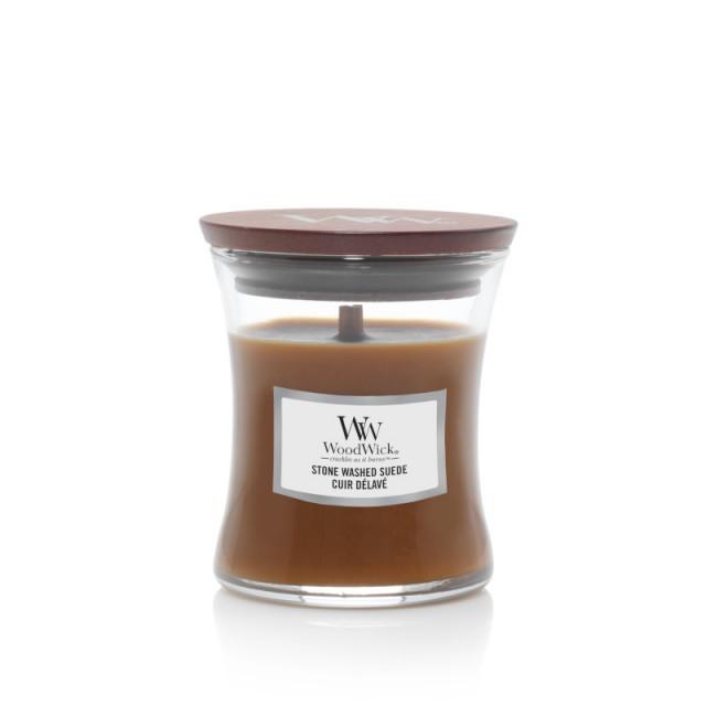 Lumanare Parfumata Borcan Mic Stone Washed Suede, WoodWick®