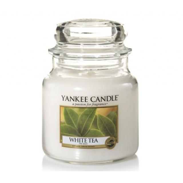 Lumanare Parfumata Borcan Mediu White Tea, Yankee Candle