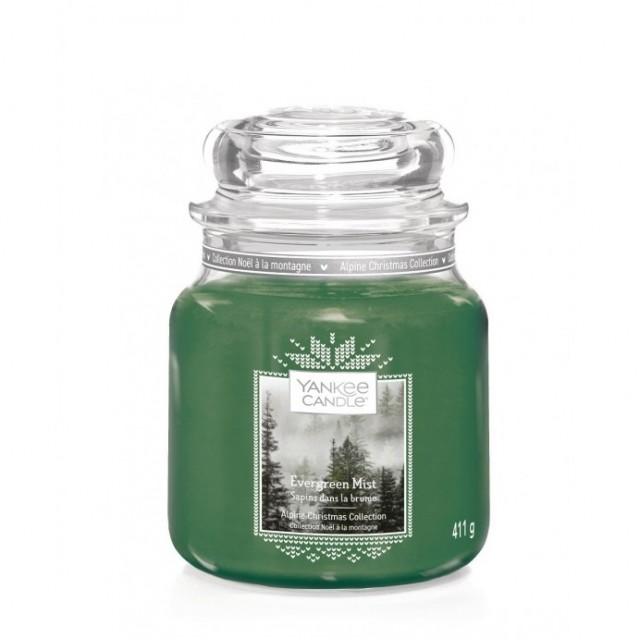 Lumanare Parfumata Borcan Mediu Evergreen Mist, Yankee Candle