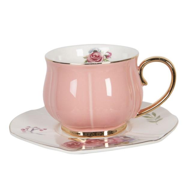 "Ceasca cu farfurie ""Romantic Pink"", Ø 15*7 cm / 250ml, Clayre & Eef"