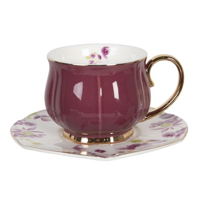 """Ceasca cu farfurie """"Romantic Purple"""", Ø 15*7 cm / 250ml, Clayre & Eef"""