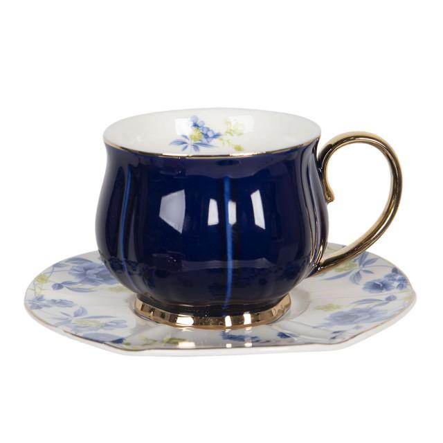 "Ceasca cu farfurie ""Romantic Indigo Blue"", Ø 15*7 cm / 250ml, Clayre & Eef"